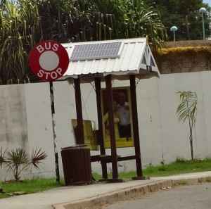 Barbadian bus stop with solar panel
